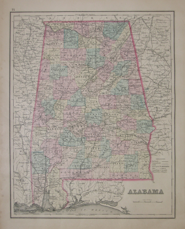 map of alabama cities and counties. Each county is done