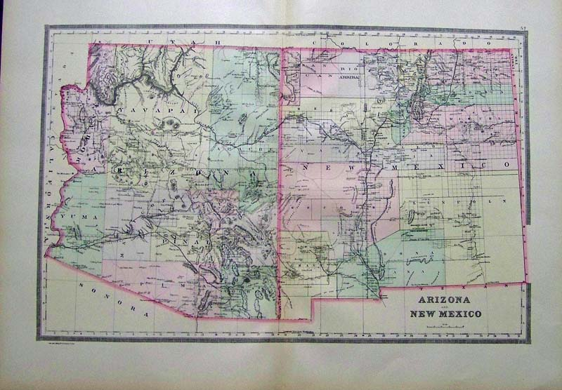 1891 bradley s color map of arizona and new mexico from bradley s atlas of the world which shows the mountain ranges counties and other geographical