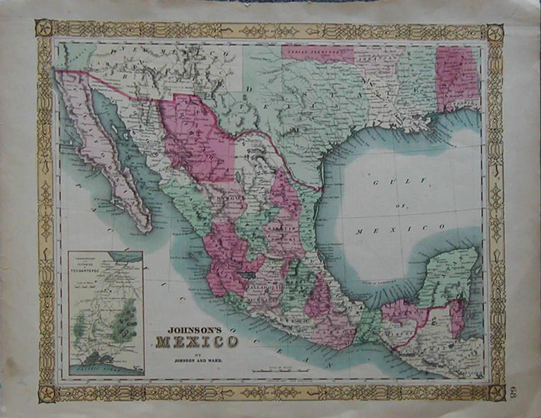 1864 early mexico map early johnson map of mexico and southwestern arizona arizona is below new mexico territory hand colored collector s map 18x14 in
