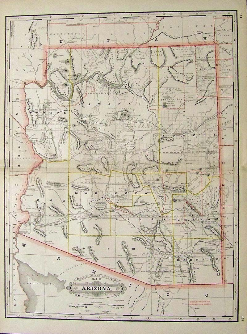 county map of arizona 23 x 17 1 2 in