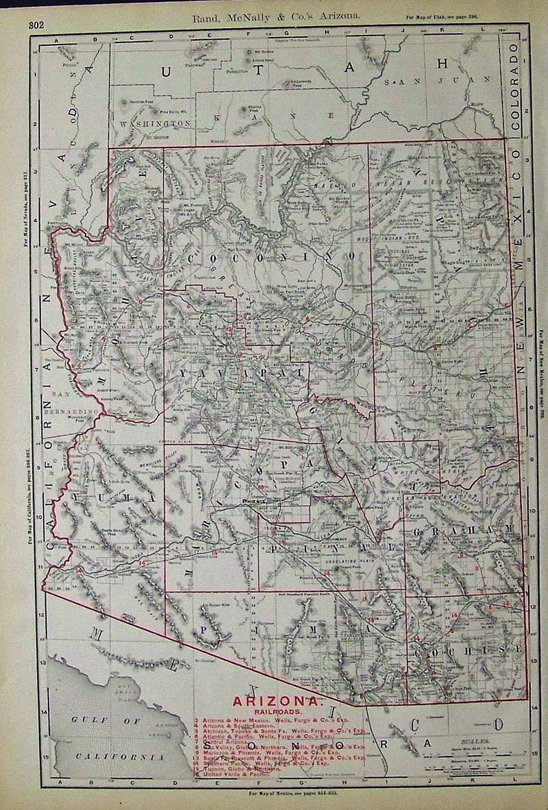 arizona railroads map with key on bottom of map detailing the names of the railroads and their locations 21 x 14 1 2 in