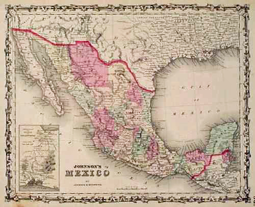 1861 Johnson Map Of Mexico Beautiful Hand Colored Map With A Decorative Border Published While Arizona And New Mexico Were Newly Acquired Us Territories