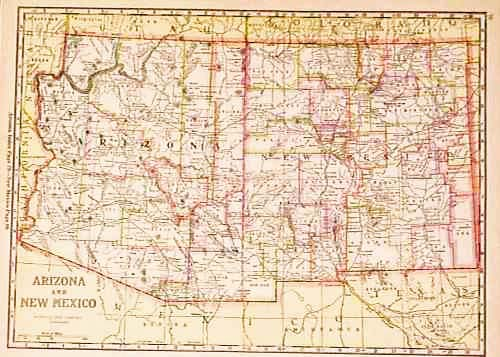 Prints Old Rare Arizona Page - Map of arizona and new mexico