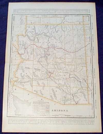 detailed 1901 railroad map of arizona beautiful map from the 1901 first edition of george cram s folio size world atlas color coded lines on the map show