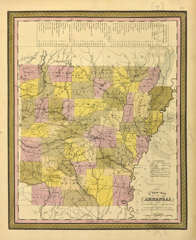 Prints Old Rare Arkansas Antique Maps Prints