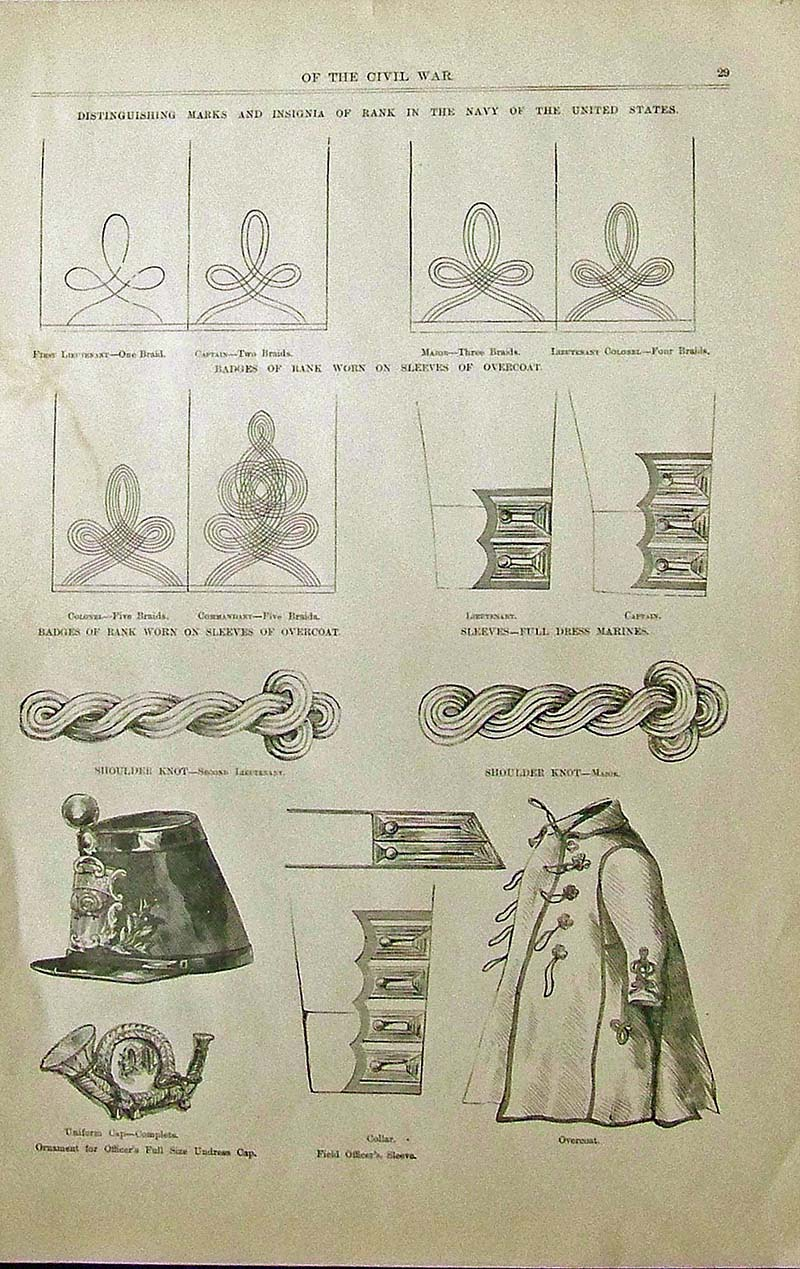 1899 Wood engraved images shown depicting Marks and Insignia of rank in the  Navy of the United States. Featured in Pictorial Battles of the Civil War.