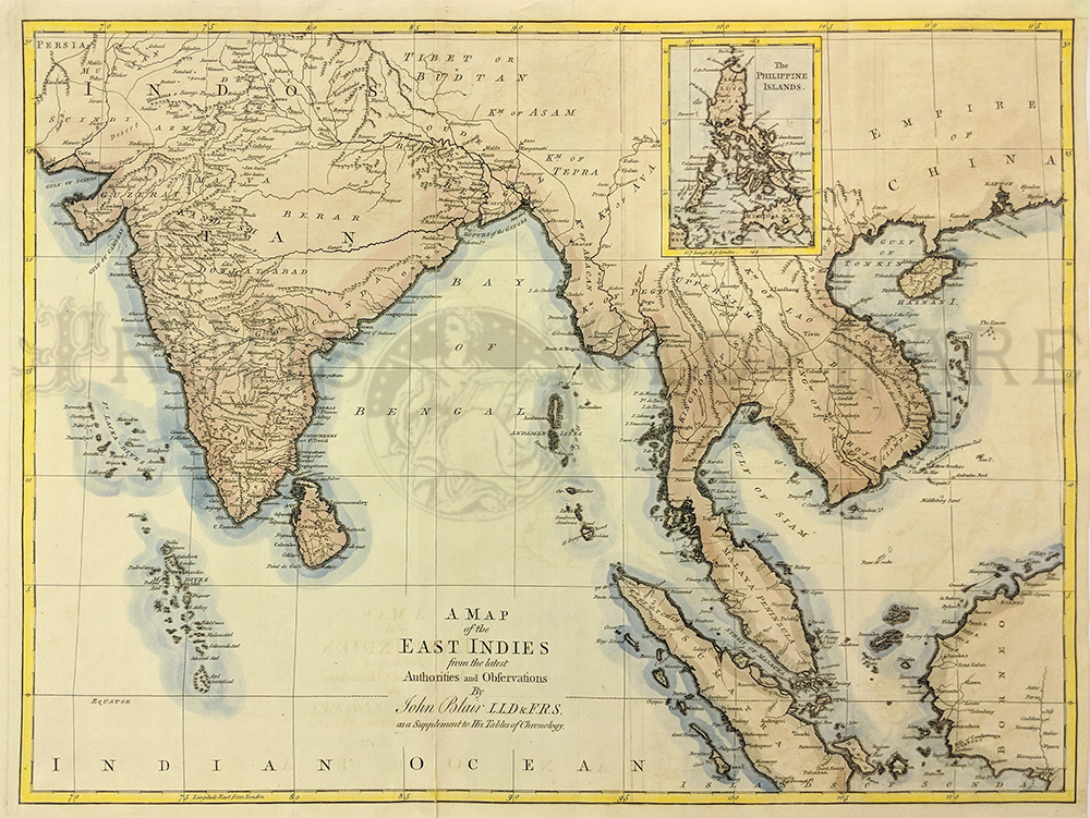 1768 john blair a map of the east indies from the latest authorities highly detailed topographical map with inset of the philippine islands