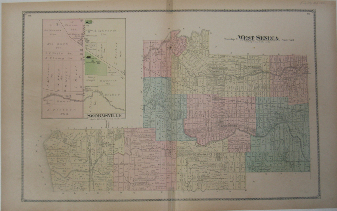 Prints Old  Rare Buffalo And Niagara Falls NY Page - Map of new york state fire districts
