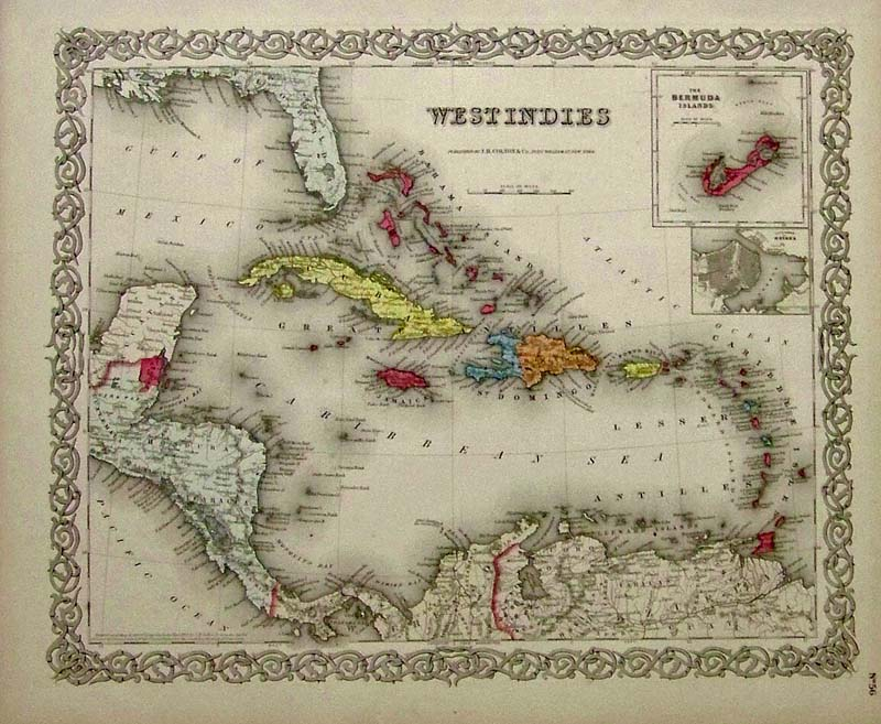 Prints old rare caribbean antique maps prints 1855 colton map of the west indies beautiful antique engraved map from the 1855 edition of coltons world atlas country and island borders are drawn with gumiabroncs Gallery