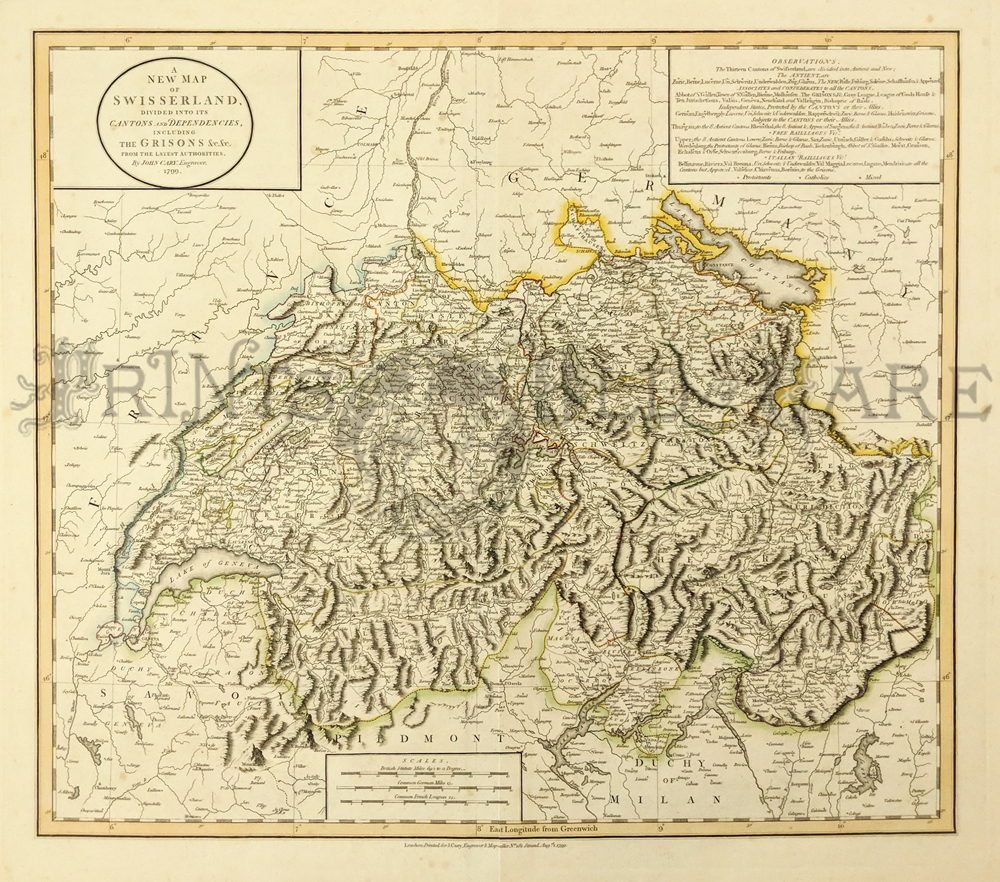 map of switzerland and bordering countries. 211ceur: 1799 Map of