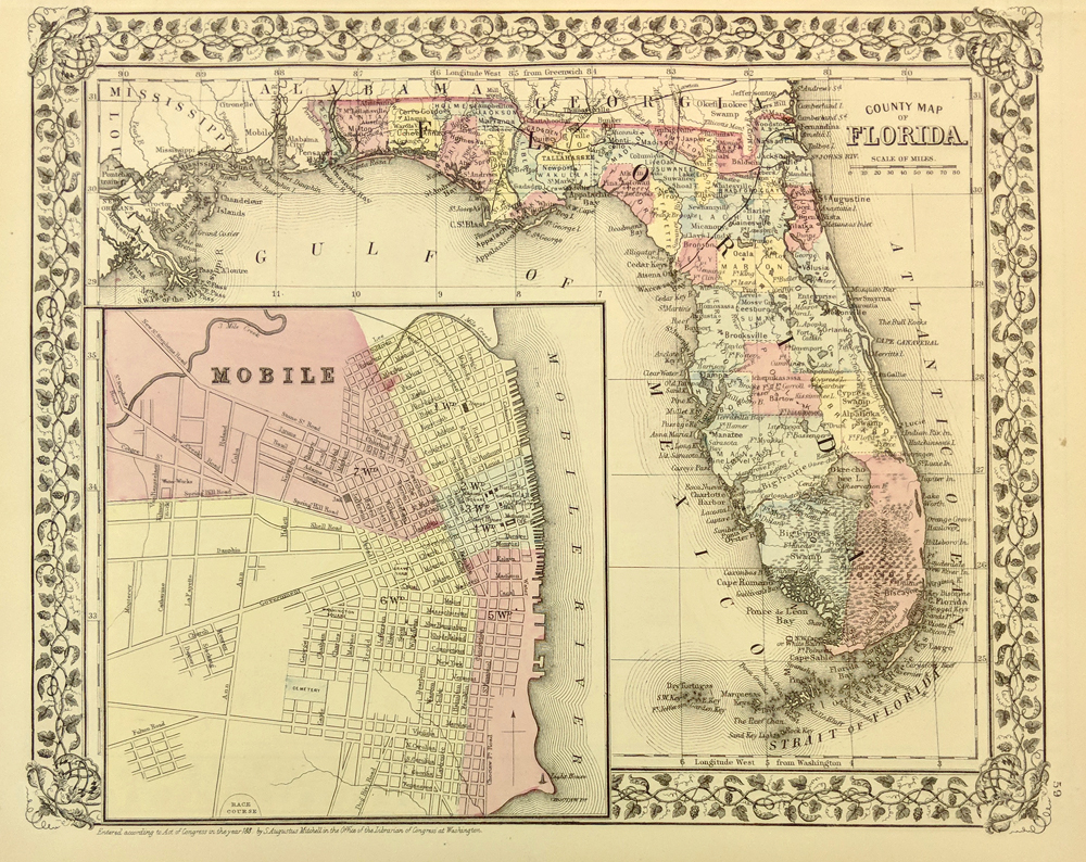 1879 Mitchells Original Hand Colored County Map Of Florida With Large Inset Mobile AL Entered According To Act Congress In The Office