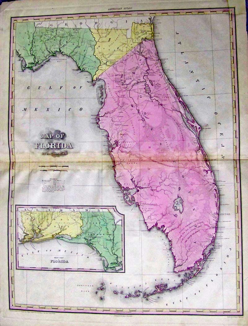 Map Of Florida Tanner 1823 A Wonderful And Large Hand Colored Engraved From Tanners Monumental New American Atlas One The Finest