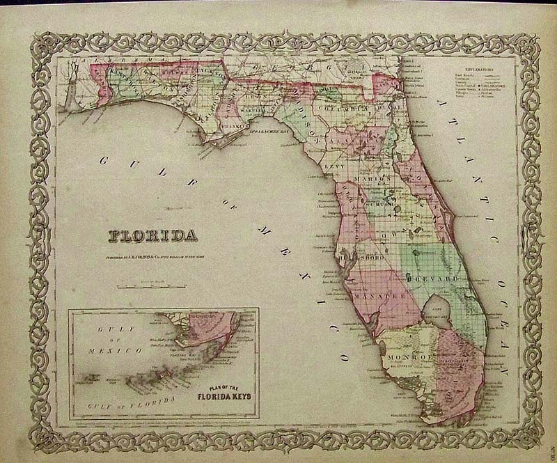 1855 J H Colton Original Hand Colored Engraved Map Showing Florida With An Inset The Plan Of Keys Was Among Earliest