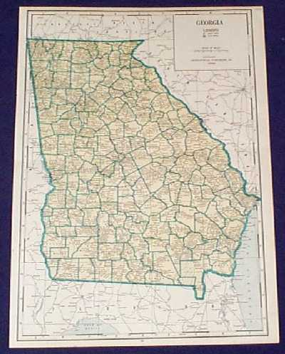 county map of georgia with cities. 108ga: 1934 Map of Georgia.