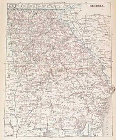 Prints Old Rare Georgia Page - Map of georgia cities and towns