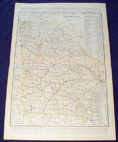 Prints old rare georgia antique maps prints detailed 1901 railroad map of georgia beautiful map from the 1901 first edition of george crams folio size world atlas color coded lines on the map show gumiabroncs Choice Image