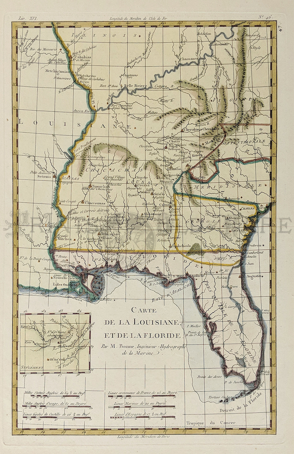 Prints old rare georgia antique maps prints 1780 hand colored copper engraved raynal and bonne map of louisiana florida and carolina map is named carte de ha louisiane et de la florida gumiabroncs Gallery