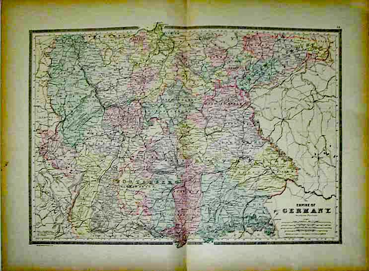 Prints Old Rare Germany page – Southern Germany Map