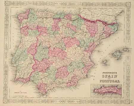 Prints Old Rare Iberian Peninsula Spain And Portugal Page - Portugal map iberian peninsula