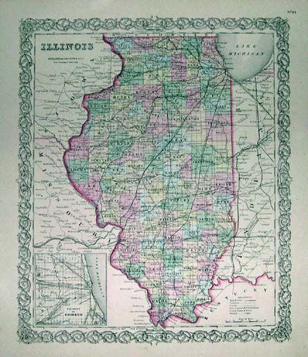 Beautiful 1872 Map Of Illinois Published By Asher Adams In The New Statistical And Topographical Atlas Of The United States Original Hand Coloring