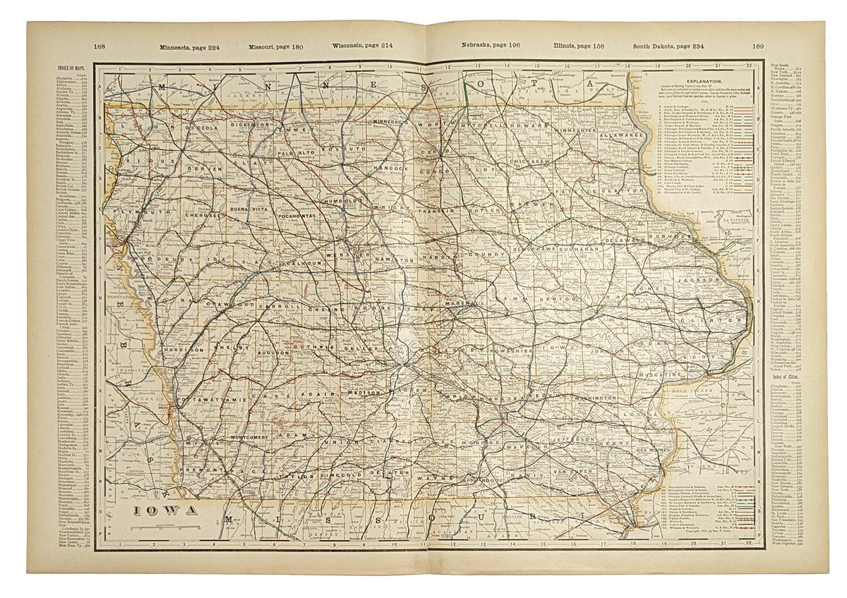 Prints Old Rare Iowa Page - Detailed map of iowa