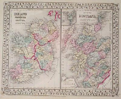 Detailed, engraved map of Ireland and Scotland from the