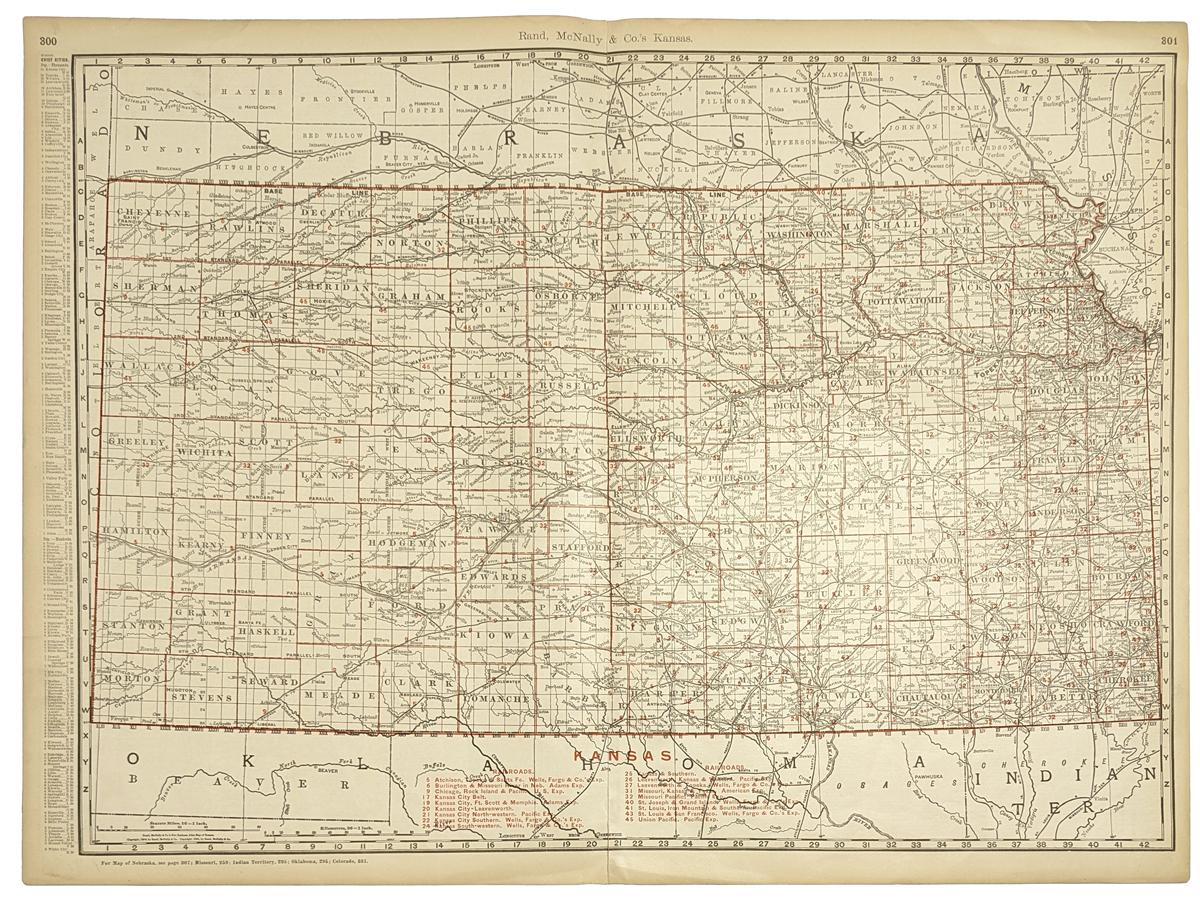 Prints Old Rare Kansas Page - Detailed map of kansas