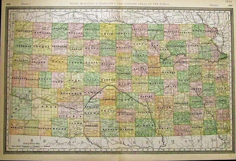 Prints Old Rare Kansas Page - Kansas cities towns map