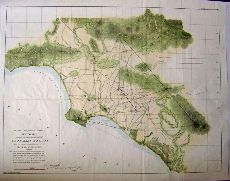 u s coast and geodetic survey sketch map los angeles base line 1888 1889 a large u s coast and geodetic survey map with original color showing