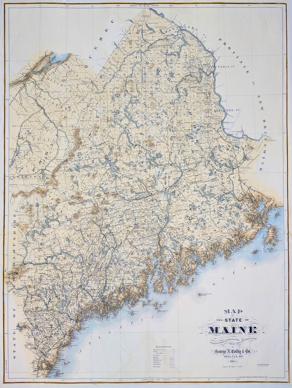 Prints old rare maine antique maps prints colby 1884 hand colord lithographed map of the state of maine from official plans and actual surveys map shows towns villages post offices highroads geenschuldenfo Image collections