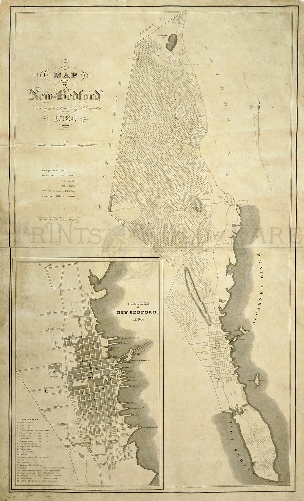 Antique Boston Map.Prints Old Rare Massachusetts Antique Maps Prints