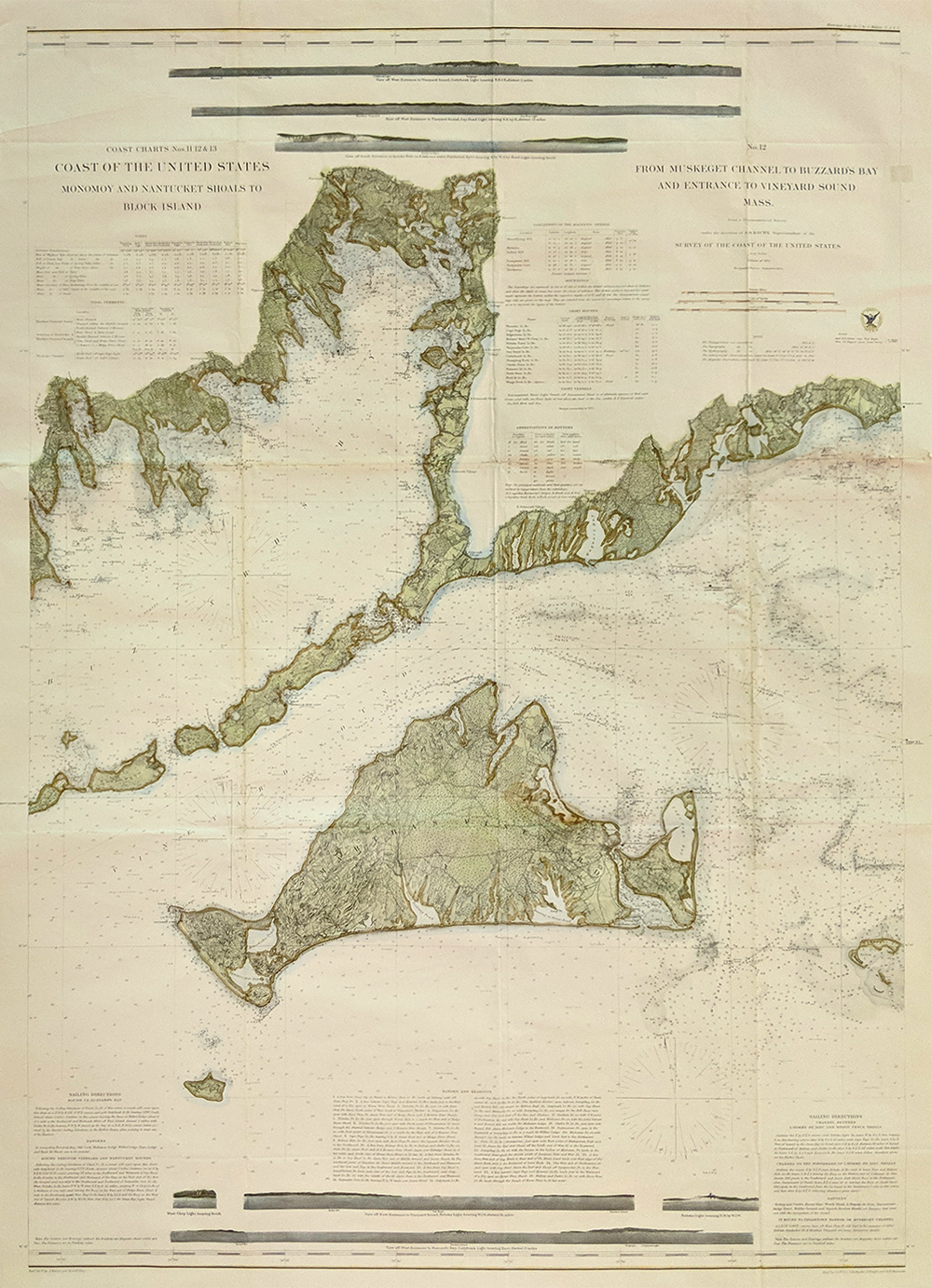 Prints old rare massachusetts antique maps prints marthas vineyard large hand colored chart showing the muskeget channel buzzards bay and the entrance to vineyard sound issued by the us coast survey nvjuhfo Gallery