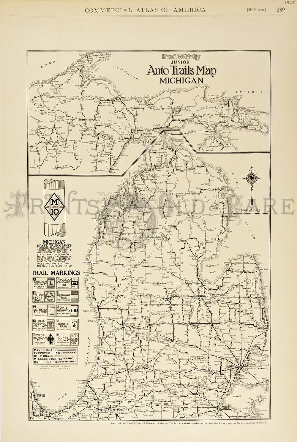 Prints Old Rare Michigan Antique