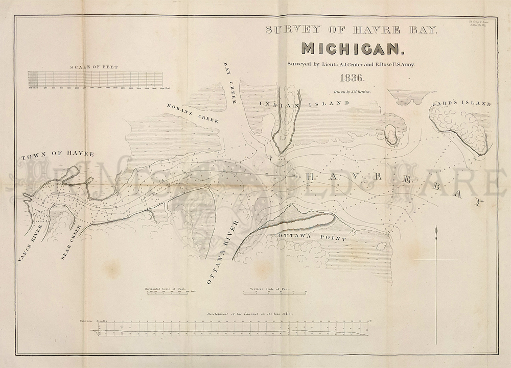 1836 Rare Early Lithographed Survey Map Of Havre Bay Michigan Surveyed By Lieuts A J Center And E Rose U S Army And Drawn By J M Berrien