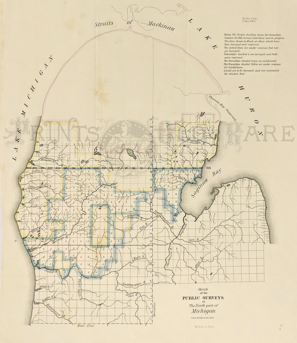 Prints old rare michigan antique maps prints c1840 very early pre civil war survey map of the north part of michigan note that survey has only started in the new territory 16 x 13 in gumiabroncs Gallery
