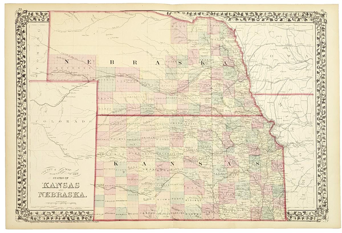 Prints Old Rare Nebraska Page - 1889 us railroad map
