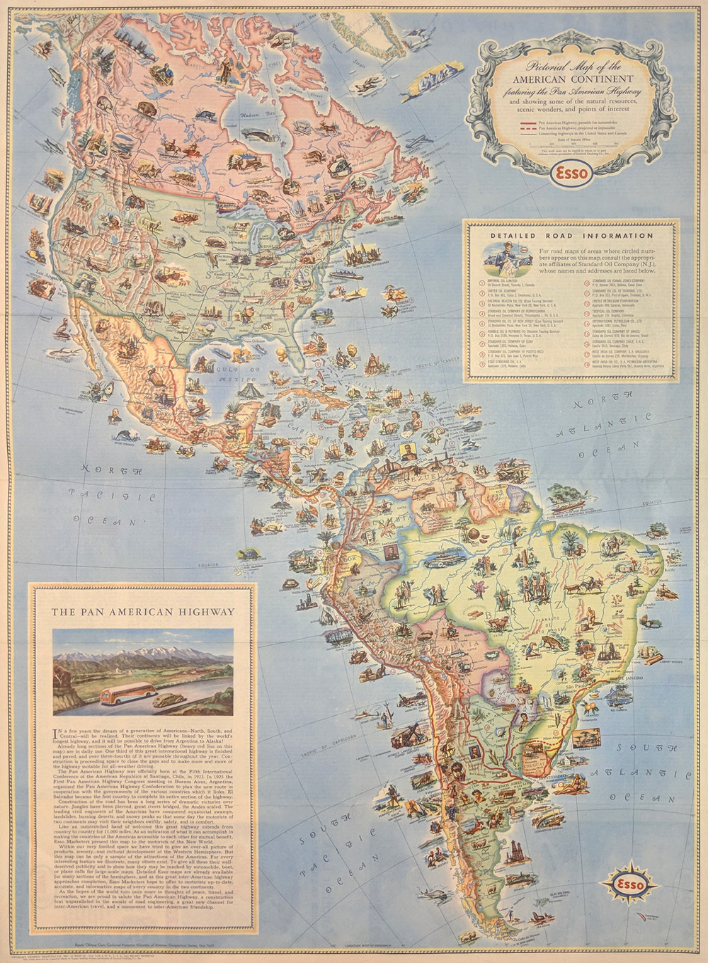 pictorial map of the american continent showing scenic wonders and points of interest printed in color