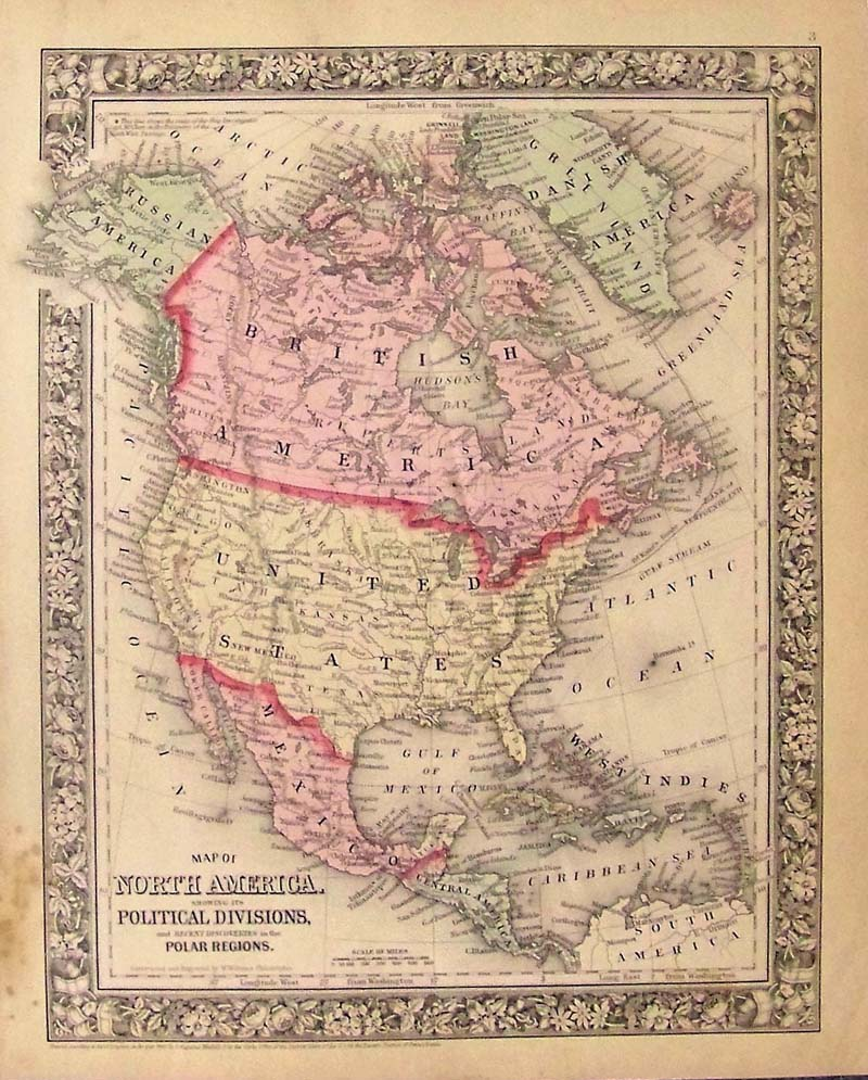 Prints Old  Rare North America Page - Map of america 1860