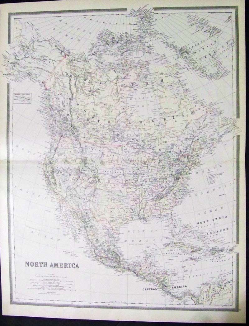 1885 hand colored lithographed map of north america by gray which also shows the west india islands central america greensland danish america alaska and