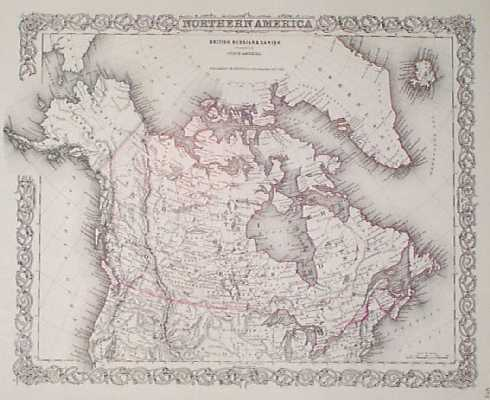 201nam 1855 Canada Northern Us Map By Colton Beautiful Engraved Map With Original Hand Coloring From The 1855 Edition Of J H Colton S World Atlas