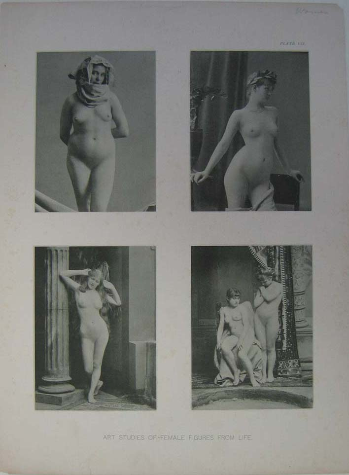 226ero: 1891 Gorgeous Female Nude Figure Models. Four black and white ...