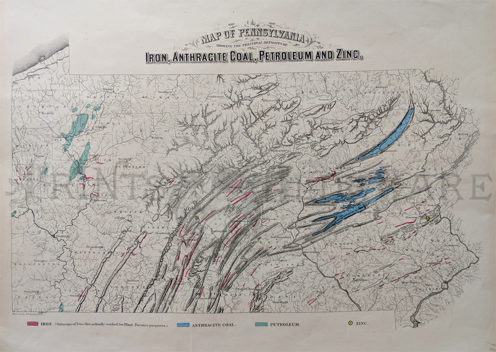 1872 hand colored engraved map of pennsylvania showing the prinl deposits of iron anthracite coal petroleum and zinc with a color key below map