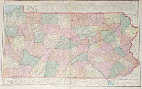 Colorful map of Pennsylvania,