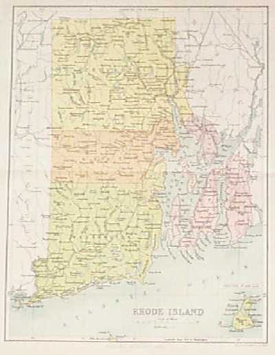 Rhode Island Map With Towns Color Map of Rhode Island