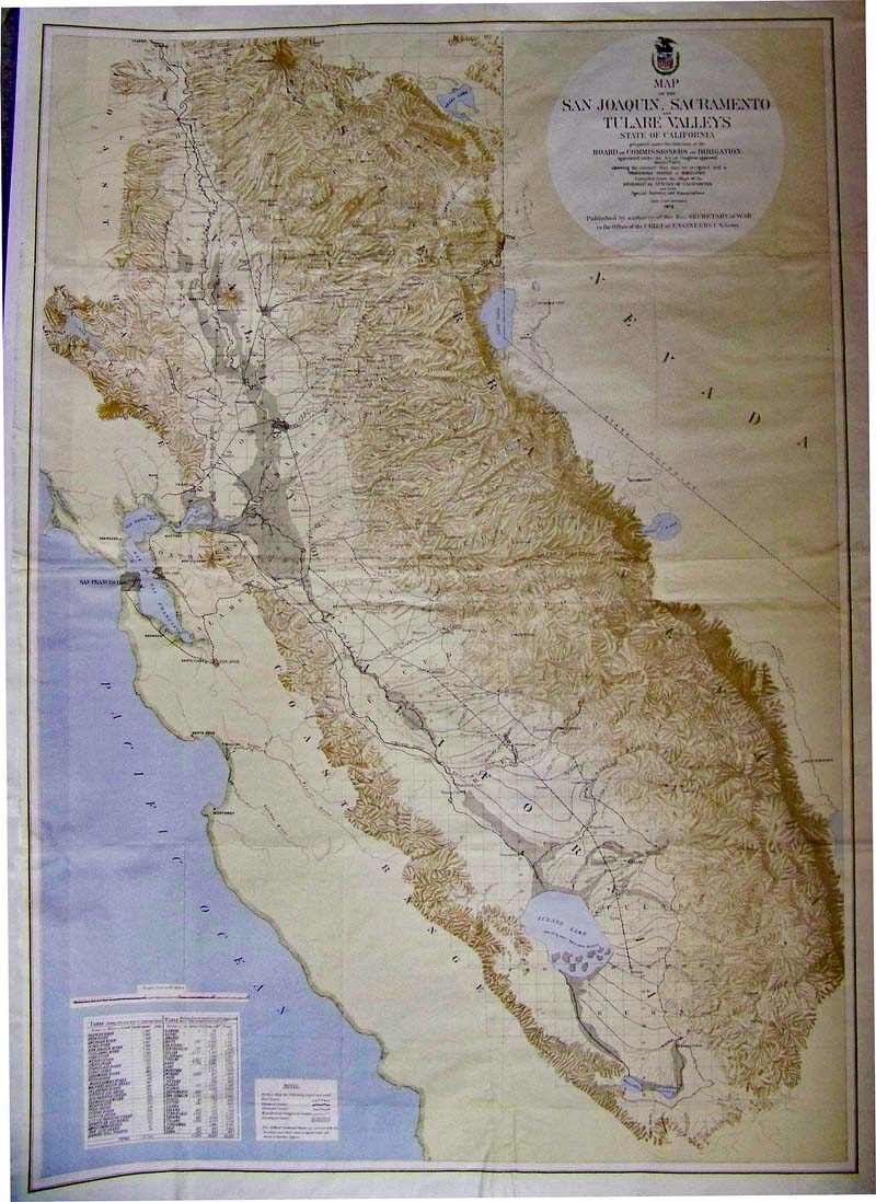 Map Of The San Joaquin Sacramento And Tulare Valleys State Of California 1873 A Large And Detailed Map With Original Color Prepared Under The Direction