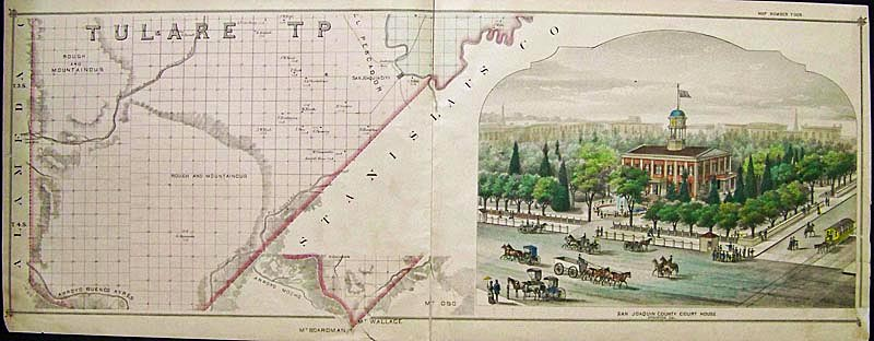 C 1875 Hand Colored Lithograph Showing Tulare Tp In Stanislaus County On The Left And On The Right The San Joaquin Court House In Stockton Cal