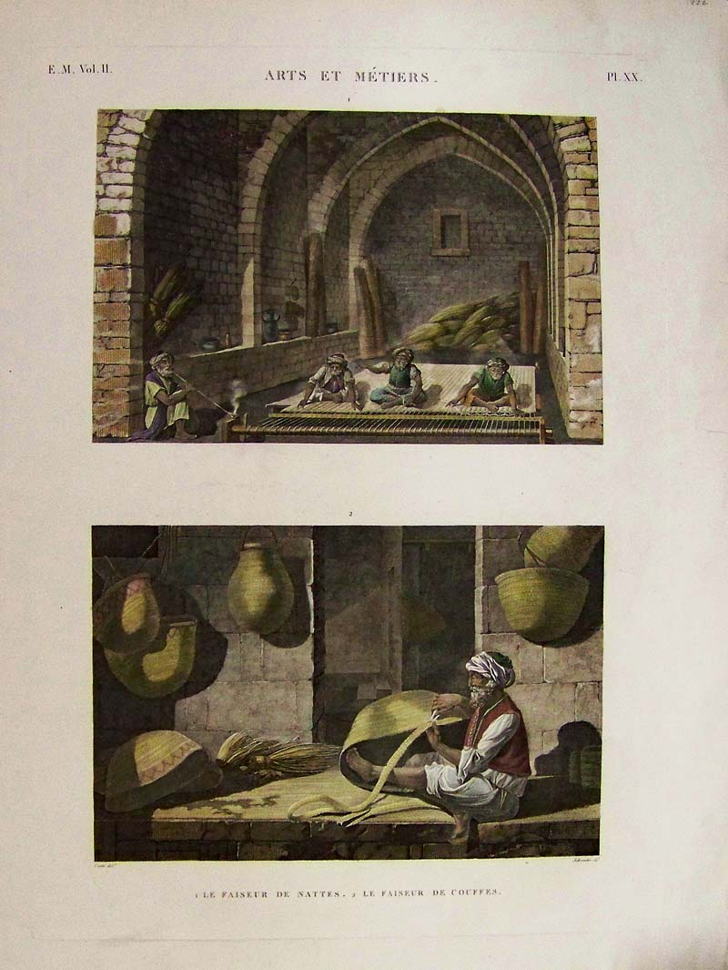Arts and crafts prints -  L Egypte Hand Colored Copper Engravings Showing Rug Making In Top Image And Basket Weaving In Bottom Image Pl Xx Title On Top Is Arts Et Metiers