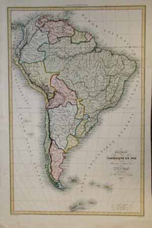 Prints old rare south america antique maps prints 1836 south america map very attractive hand colored old french antique map of the south american continent all text in french rare 14x21 in 250 gumiabroncs Image collections