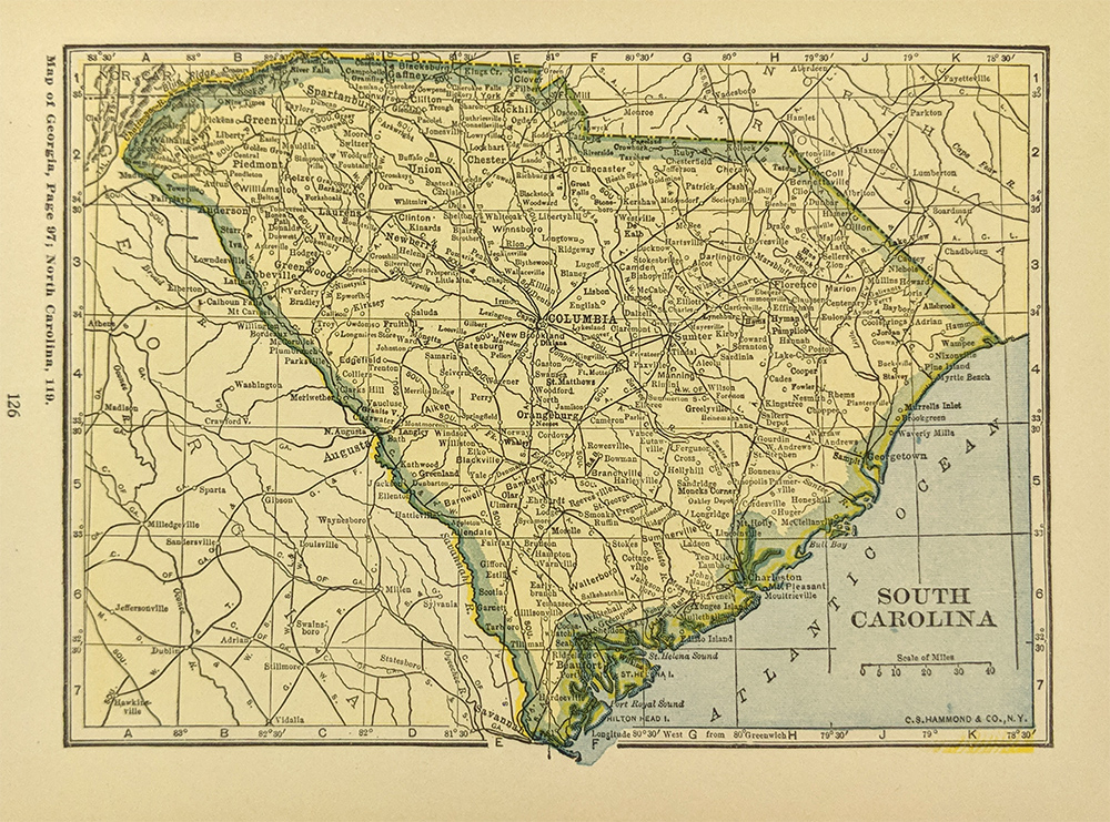 Prints old rare south carolina antique maps prints 1927 south carolina map small color map published in a 1927 world atlas and gazetteer cities towns and railroad lines are shown throughout the state gumiabroncs Images