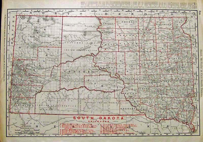 Prints Old Rare South Dakota Page - Map of south dakota